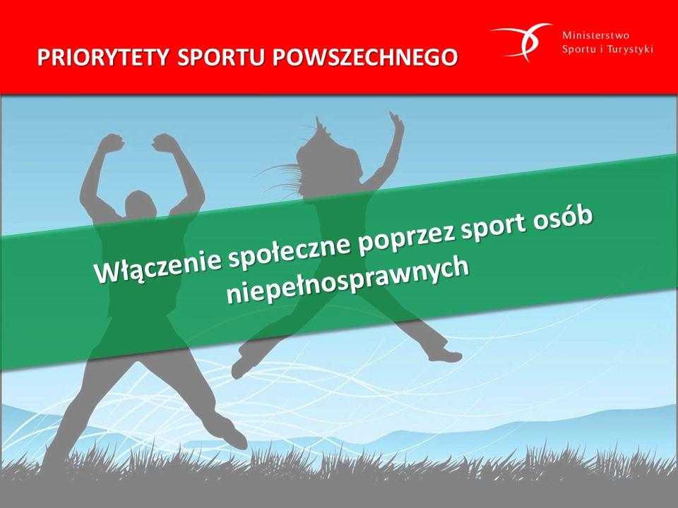 Włączenie społeczne poprzez sport osób niepełnosprawnych PRIORYTETY SPORTU POWSZECHNEGO
