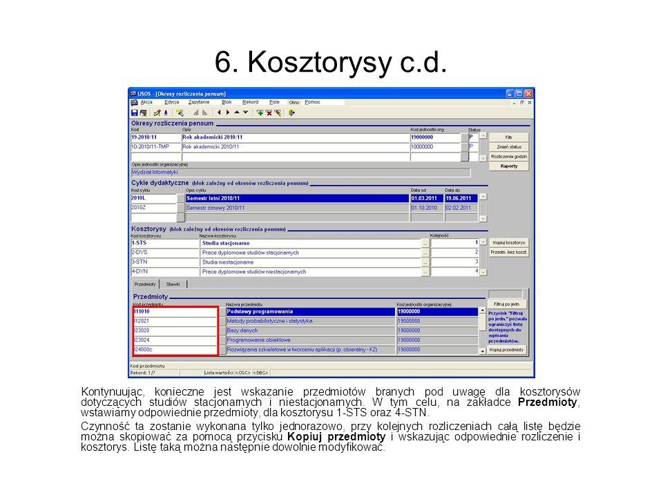 6. Kosztorysy c.d.