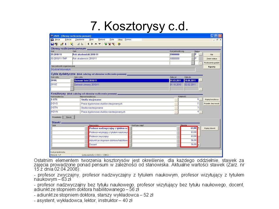 7. Kosztorysy c.d.
