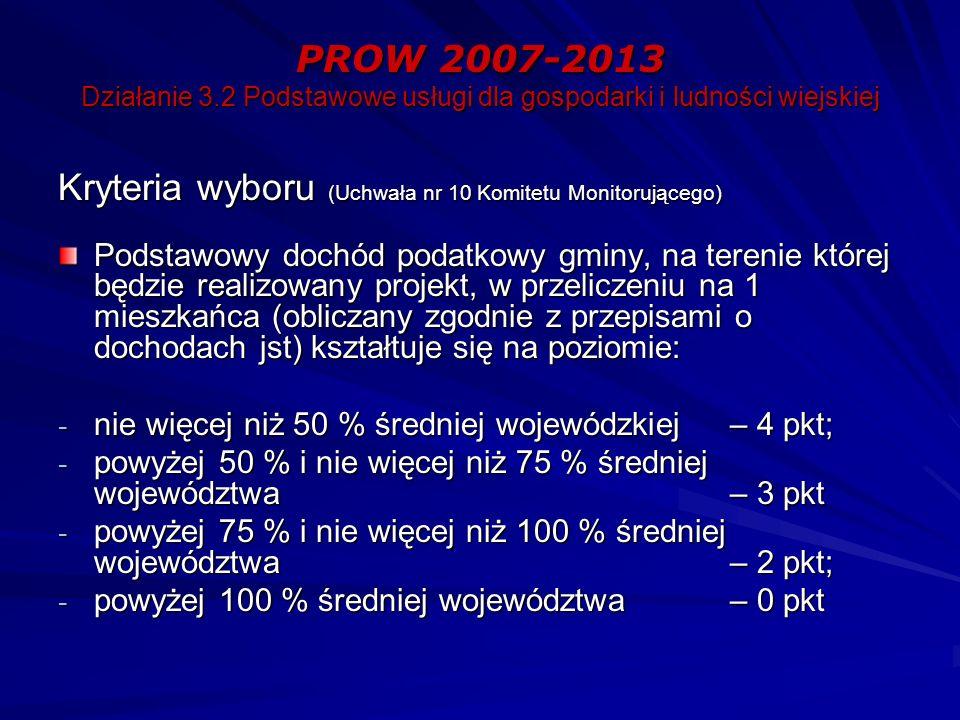 PROW 2007-2013 Działanie 3.2 Podstawowe usługi dla gospodarki i ludności wiejskiej Kryteria wyboru (Uchwała nr 10 Komitetu Monitorującego) Podstawowy