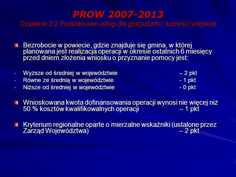 PROW 2007-2013 Działanie 3.2 Podstawowe usługi dla gospodarki i ludności wiejskiej Bezrobocie w powiecie, gdzie znajduje się gmina, w której planowana