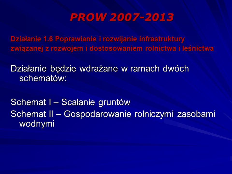 PROW 2007-2013 Działanie 1.6 Poprawianie i rozwijanie infrastruktury związanej z rozwojem i dostosowaniem rolnictwa i leśnictwa Działanie będzie wdrażane w ramach dwóch schematów: Schemat I – Scalanie gruntów Schemat II – Gospodarowanie rolniczymi zasobami wodnymi
