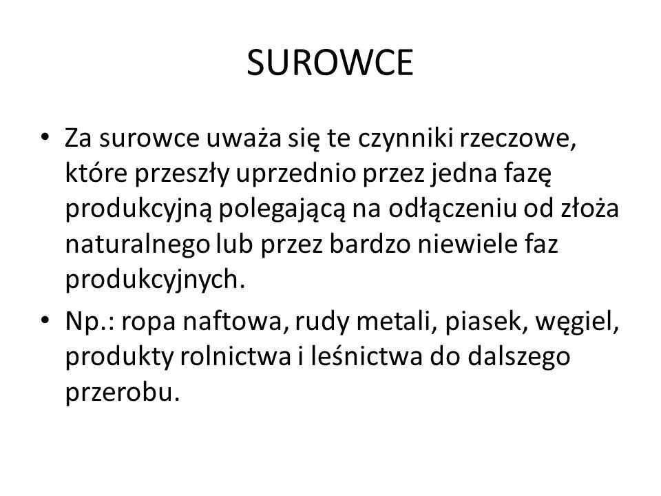 SUROWCE Za surowce uważa się te czynniki rzeczowe, które przeszły uprzednio przez jedna fazę produkcyjną polegającą na odłączeniu od złoża naturalnego lub przez bardzo niewiele faz produkcyjnych.