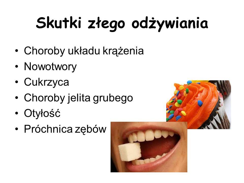 Skutki złego odżywiania Choroby układu krążenia Nowotwory Cukrzyca Choroby jelita grubego Otyłość Próchnica zębów
