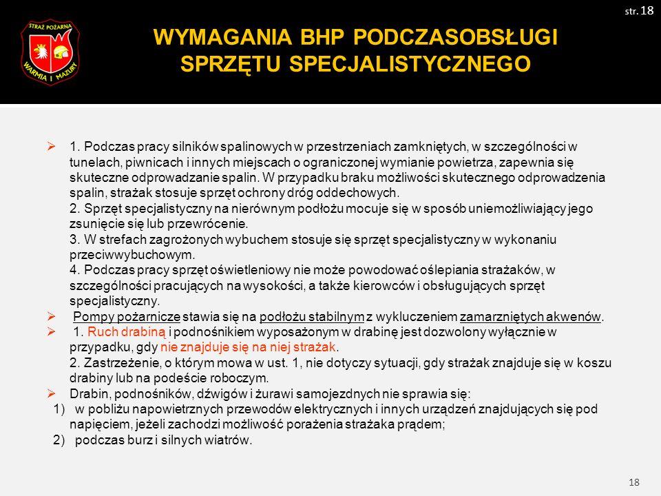19 WYMAGANIA BHP PODCZAS PROWADZENIA AKCJI W TRANSPORCIE str.
