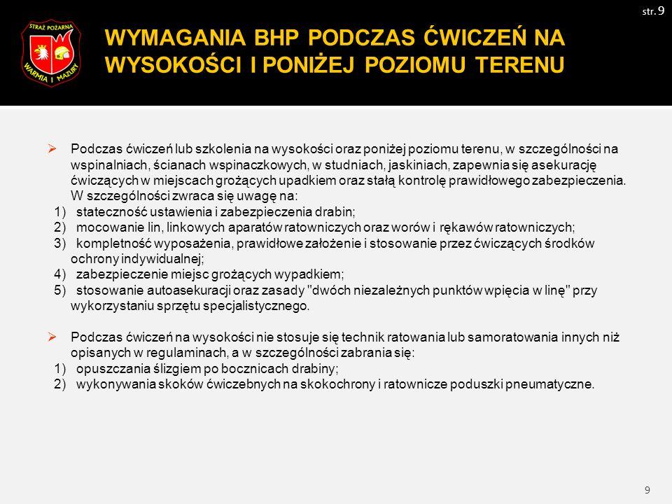 10 WYMAGANIA BHP PODCZAS ĆWICZEŃ NA WODZIE(LODZIE) I POD WODĄ(LODEM) str.