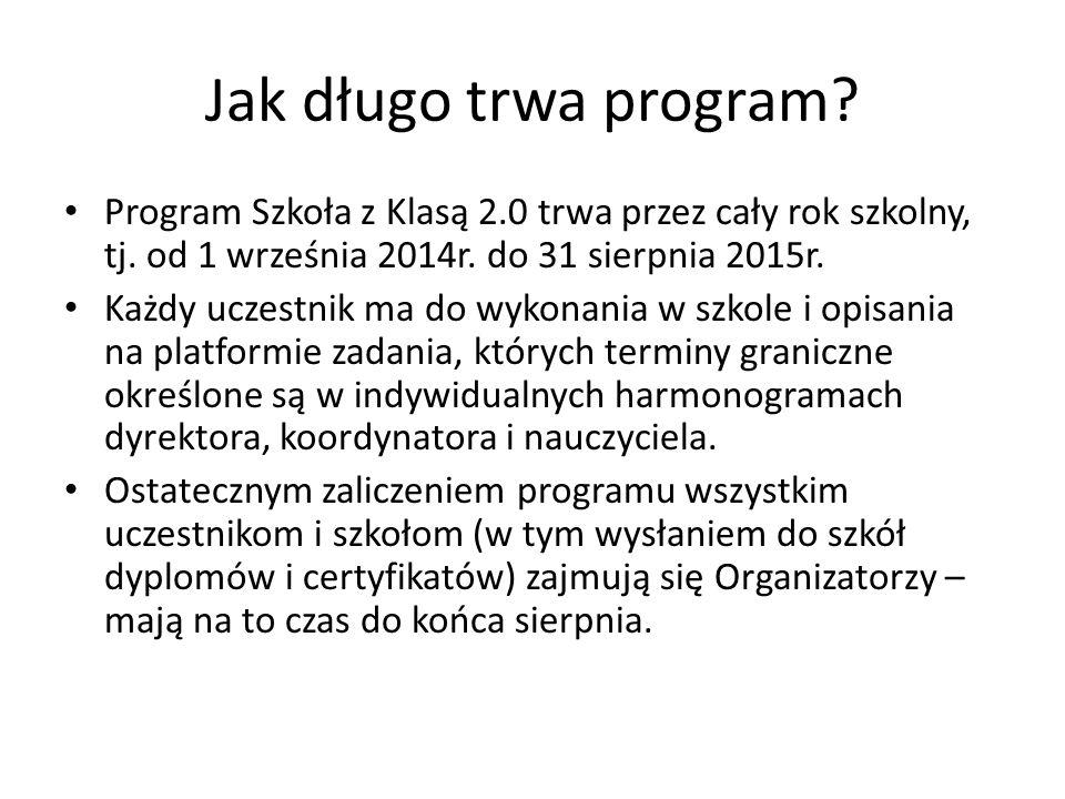 Jak długo trwa program. Program Szkoła z Klasą 2.0 trwa przez cały rok szkolny, tj.