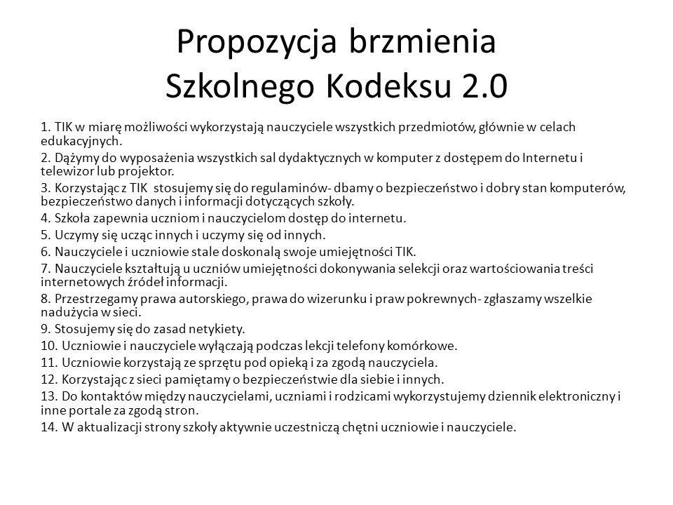 Propozycja brzmienia Szkolnego Kodeksu 2.0 1.