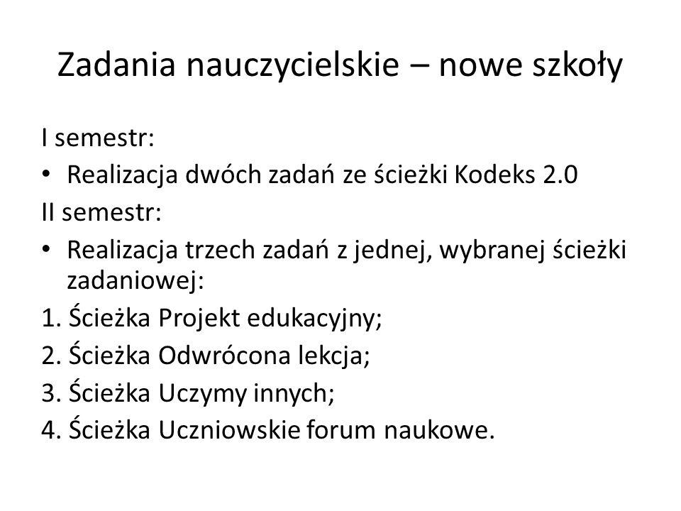 Zadania nauczycielskie – nowe szkoły I semestr: Realizacja dwóch zadań ze ścieżki Kodeks 2.0 II semestr: Realizacja trzech zadań z jednej, wybranej ścieżki zadaniowej: 1.