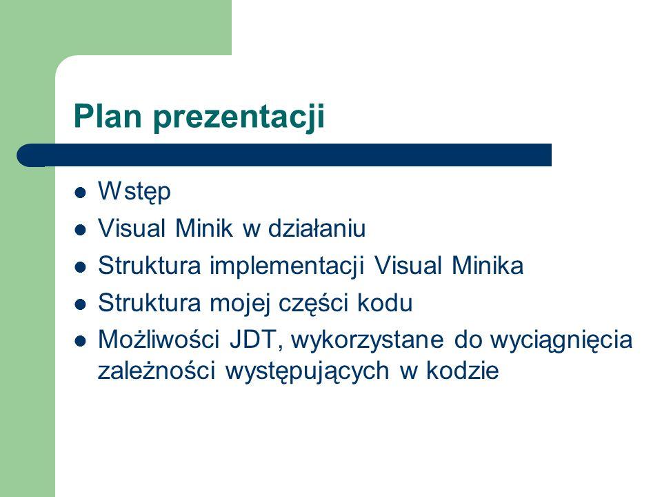 Plan prezentacji Wstęp Visual Minik w działaniu Struktura implementacji Visual Minika Struktura mojej części kodu Możliwości JDT, wykorzystane do wyciągnięcia zależności występujących w kodzie