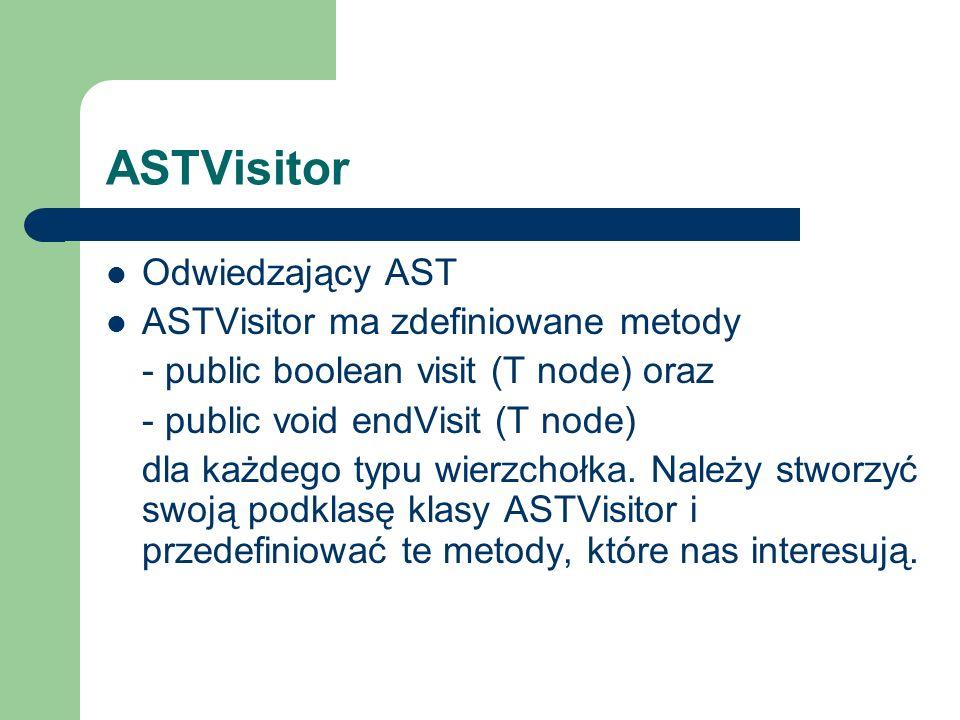 ASTVisitor Odwiedzający AST ASTVisitor ma zdefiniowane metody - public boolean visit (T node) oraz - public void endVisit (T node) dla każdego typu wierzchołka.
