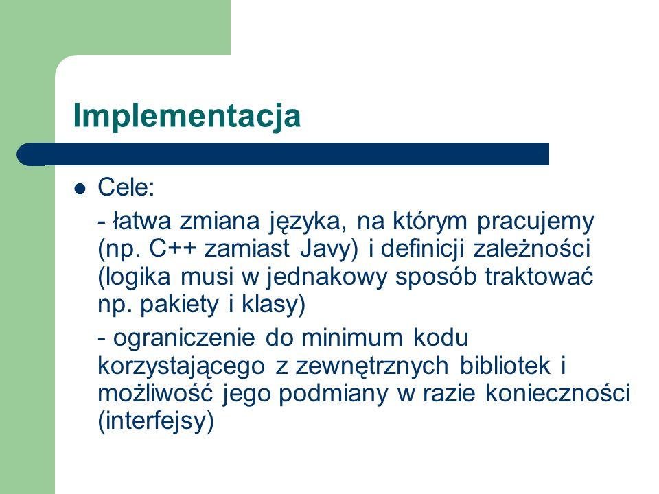 Implementacja Cele: - łatwa zmiana języka, na którym pracujemy (np.