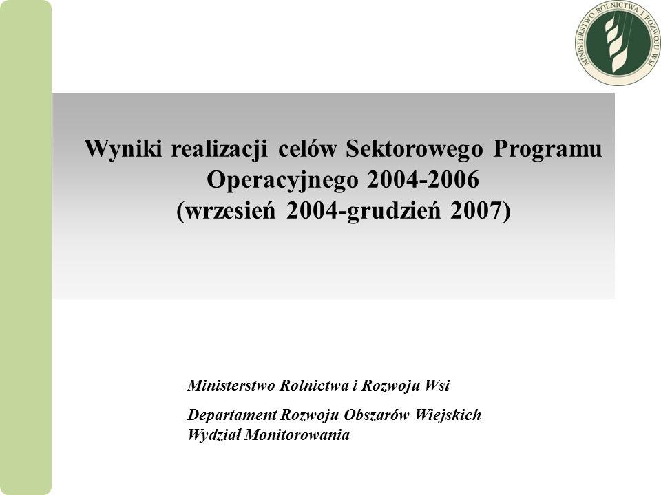 Wyniki realizacji celów Sektorowego Programu Operacyjnego 2004-2006 (wrzesień 2004-grudzień 2007) Ministerstwo Rolnictwa i Rozwoju Wsi Departament Rozwoju Obszarów Wiejskich Wydział Monitorowania