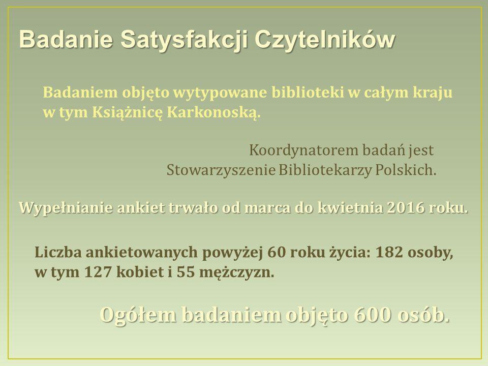 Badanie Satysfakcji Czytelników Badaniem objęto wytypowane biblioteki w całym kraju w tym Książnicę Karkonoską.