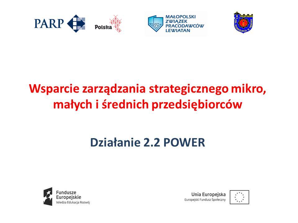 Wsparcie zarządzania strategicznego mikro, małych i średnich przedsiębiorców Działanie 2.2 POWER