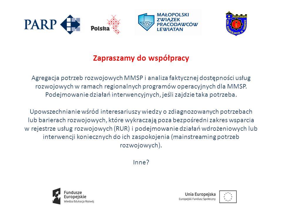 Zapraszamy do współpracy Agregacja potrzeb rozwojowych MMSP i analiza faktycznej dostępności usług rozwojowych w ramach regionalnych programów operacyjnych dla MMSP.