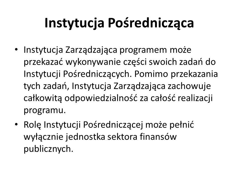Instytucja Pośrednicząca Instytucja Zarządzająca programem może przekazać wykonywanie części swoich zadań do Instytucji Pośredniczących. Pomimo przeka