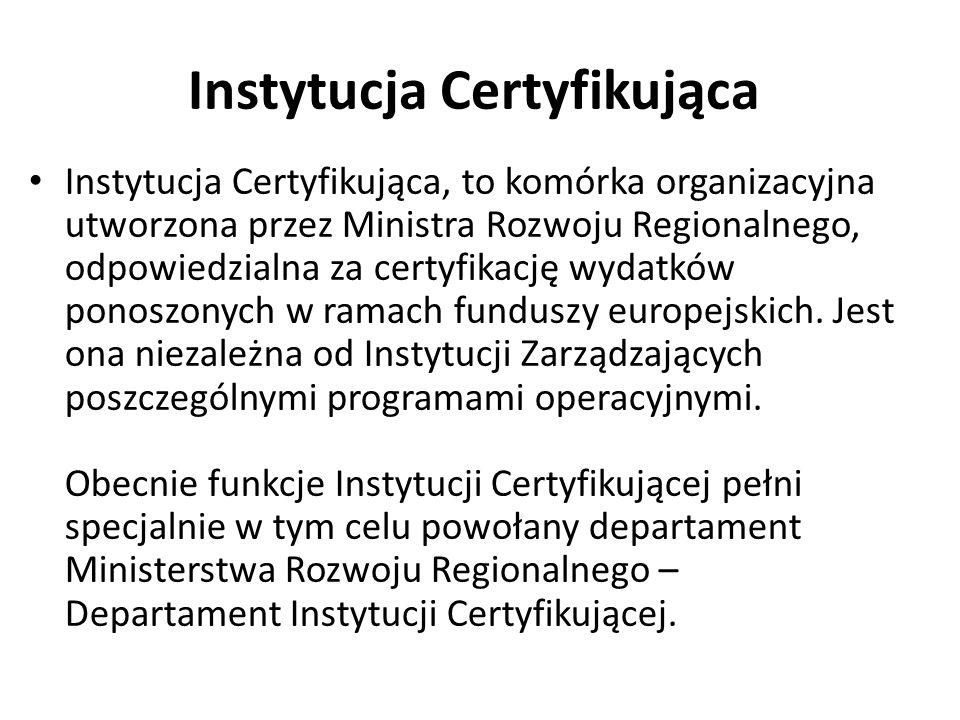 Instytucja Certyfikująca Instytucja Certyfikująca, to komórka organizacyjna utworzona przez Ministra Rozwoju Regionalnego, odpowiedzialna za certyfika
