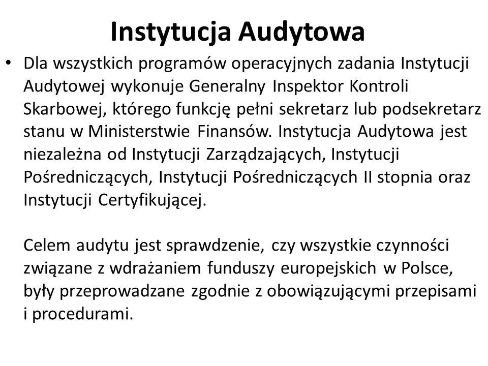 Instytucja Audytowa Dla wszystkich programów operacyjnych zadania Instytucji Audytowej wykonuje Generalny Inspektor Kontroli Skarbowej, którego funkcję pełni sekretarz lub podsekretarz stanu w Ministerstwie Finansów.