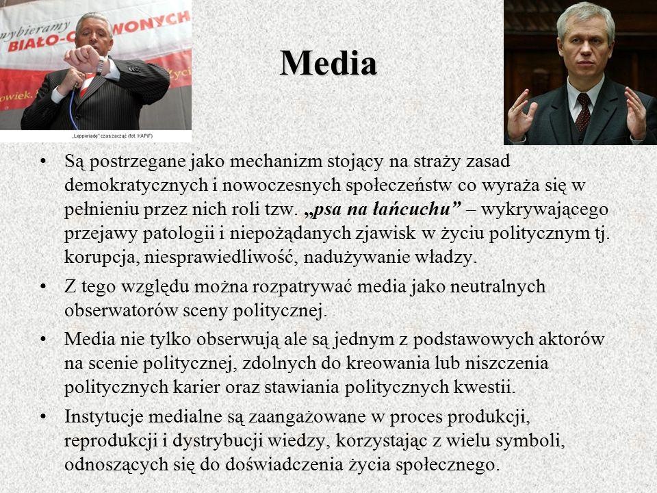 Rola mediów masowych w procesach komunikacji politycznej Dla większości ludzi środki masowego przekazu stanowią podstawowe i najważniejsze źródło info