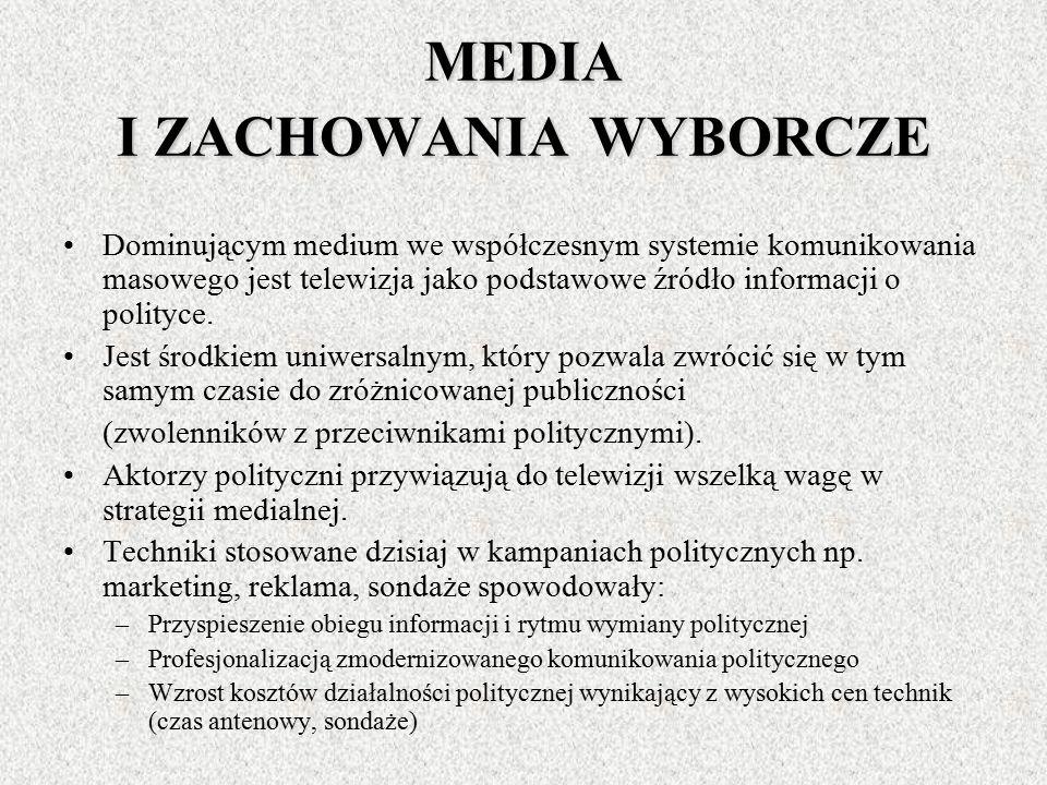 Mediatyzację życia politycznego rozpatrujemy w kilku wymiarach: MEDIA I ZACHOWANIA WYBORCZE MEDIA I AKTORZY POLITYCZNI MEDIA JAKO ŹRÓŁO INFORMACJI DLA