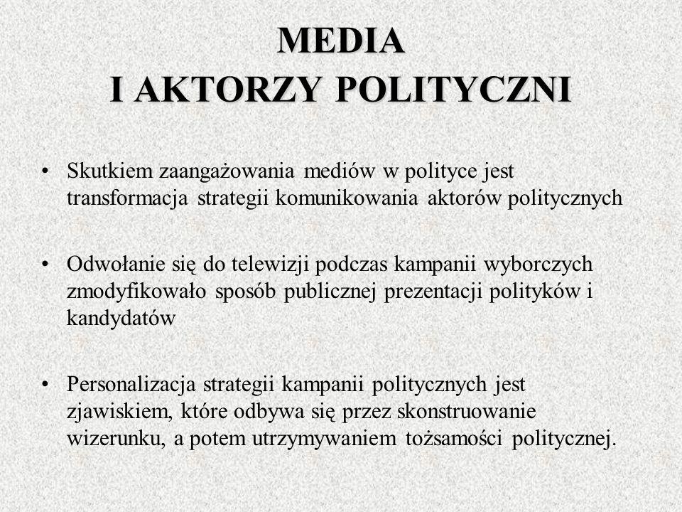 MEDIA I ZACHOWANIA WYBORCZE Dominującym medium we współczesnym systemie komunikowania masowego jest telewizja jako podstawowe źródło informacji o poli