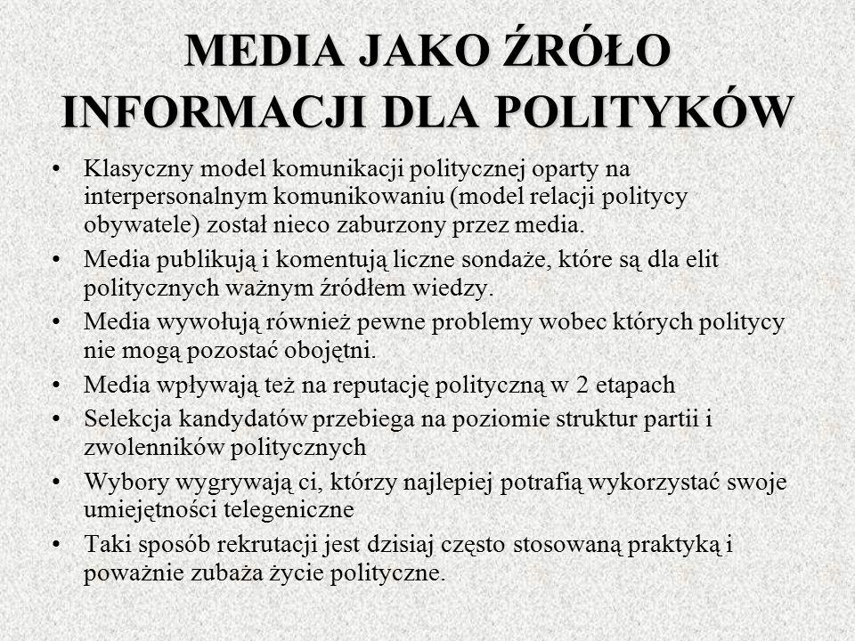MEDIA I AKTORZY POLITYCZNI Skutkiem zaangażowania mediów w polityce jest transformacja strategii komunikowania aktorów politycznych Odwołanie się do t
