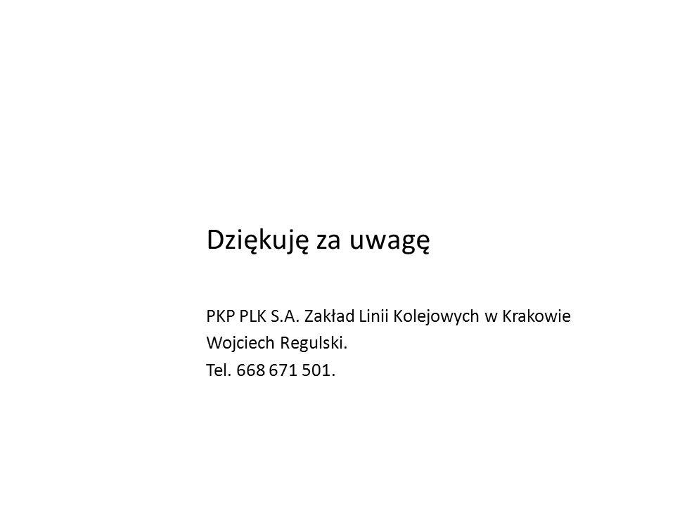 Dziękuję za uwagę PKP PLK S.A. Zakład Linii Kolejowych w Krakowie Wojciech Regulski.