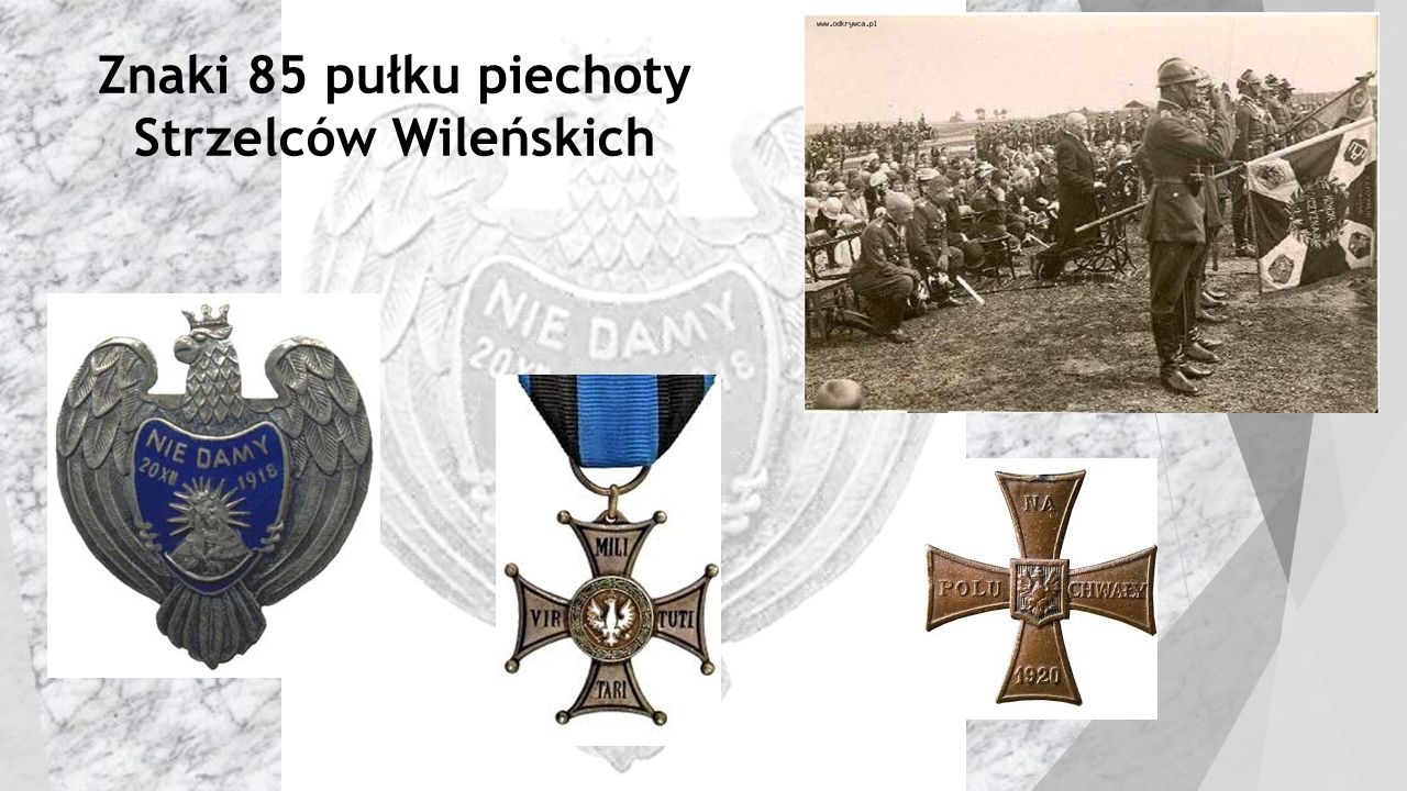 Znaki 85 pułku piechoty Strzelców Wileńskich