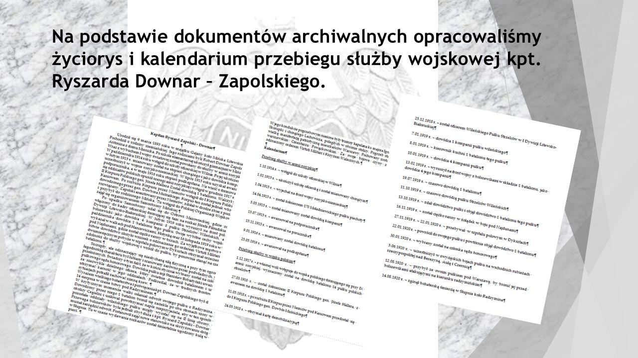 Na podstawie dokumentów archiwalnych opracowaliśmy życiorys i kalendarium przebiegu służby wojskowej kpt. Ryszarda Downar – Zapolskiego.