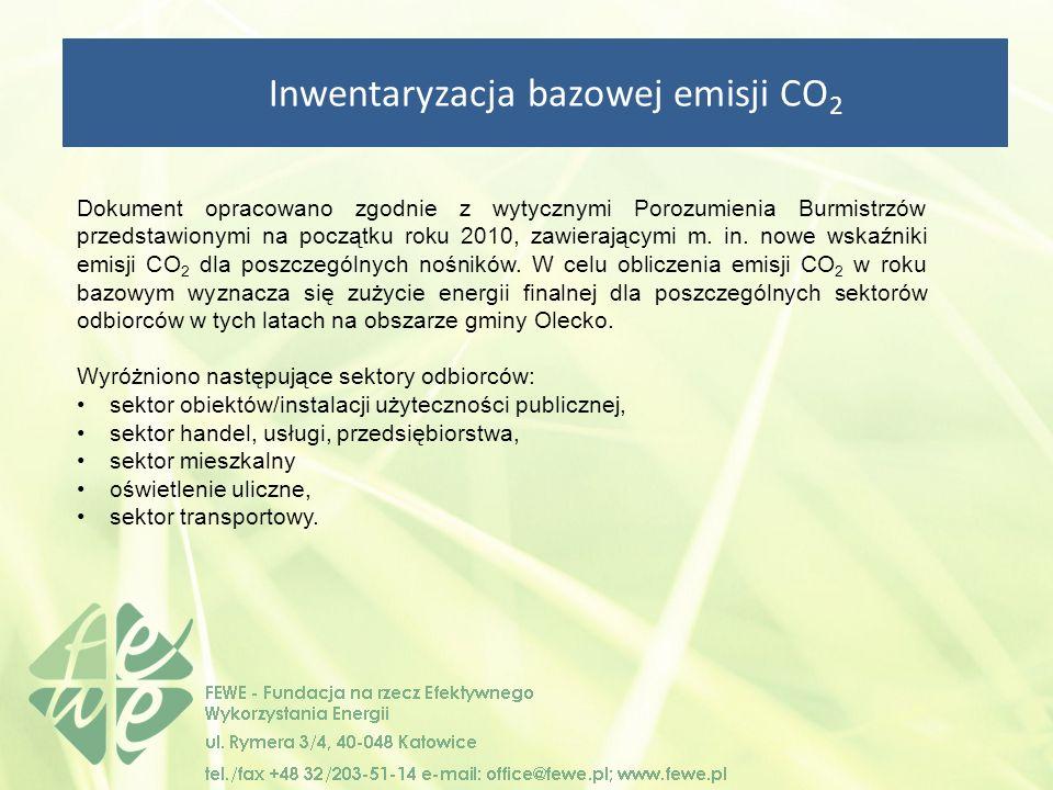 Inwentaryzacja bazowej emisji CO 2 Dokument opracowano zgodnie z wytycznymi Porozumienia Burmistrzów przedstawionymi na początku roku 2010, zawierającymi m.