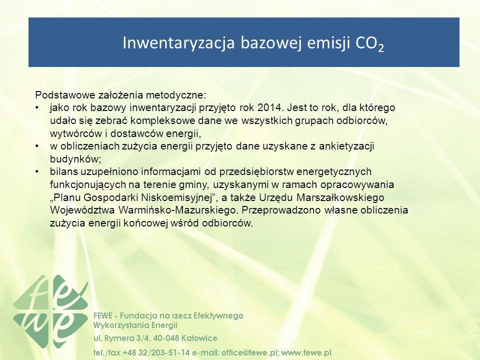 Inwentaryzacja bazowej emisji CO 2 Podstawowe założenia metodyczne: jako rok bazowy inwentaryzacji przyjęto rok 2014.