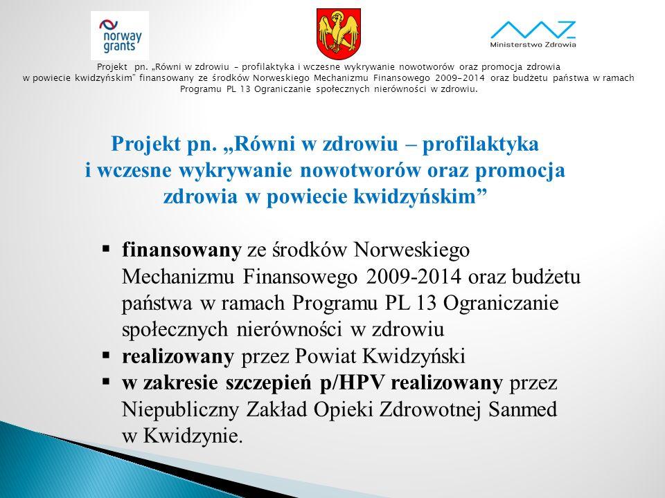 """Projekt pn. """"Równi w zdrowiu – profilaktyka i wczesne wykrywanie nowotworów oraz promocja zdrowia w powiecie kwidzyńskim""""  finansowany ze środków Nor"""