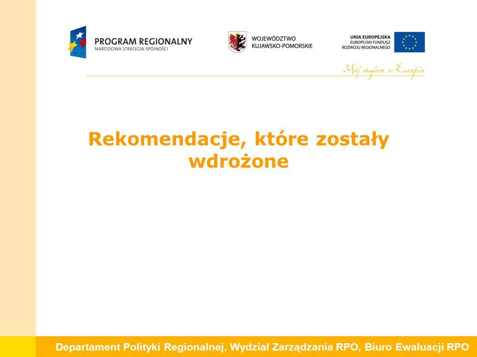 Departament Polityki Regionalnej, Wydział Zarządzania RPO, Biuro Ewaluacji RPO Rekomendacje, które zostały wdrożone