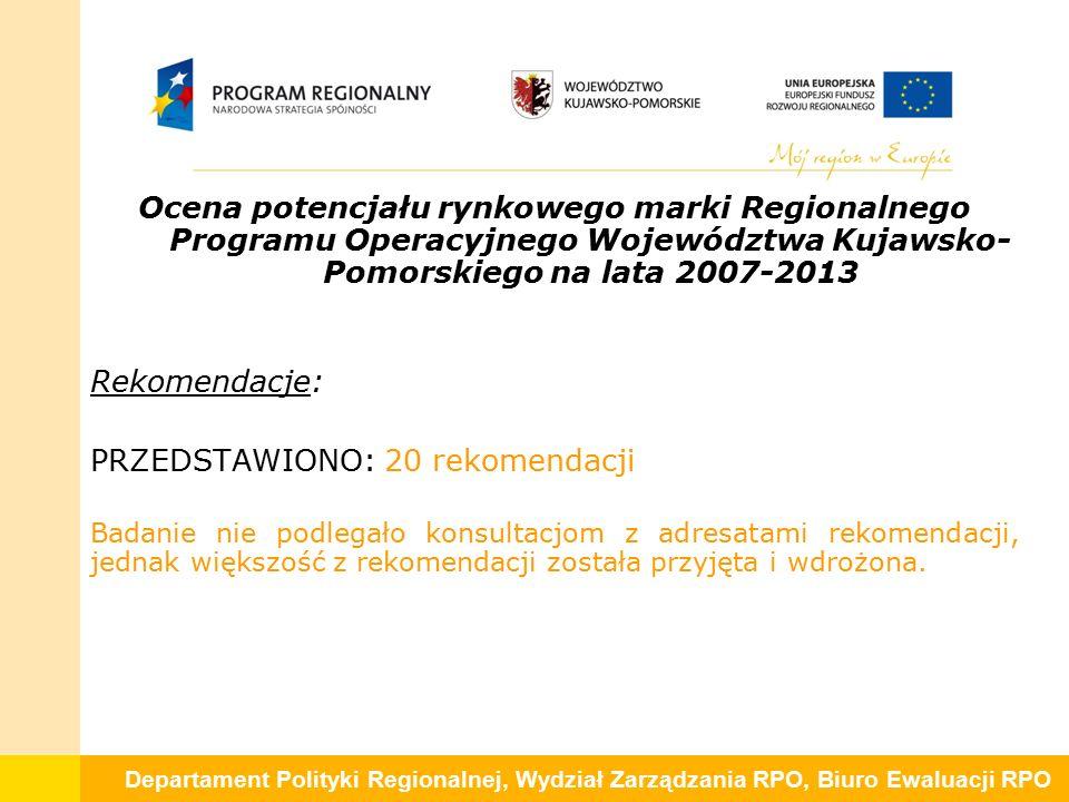 Departament Polityki Regionalnej, Wydział Zarządzania RPO, Biuro Ewaluacji RPO Ocena potencjału rynkowego marki Regionalnego Programu Operacyjnego Województwa Kujawsko- Pomorskiego na lata 2007-2013 Rekomendacje: PRZEDSTAWIONO: 20 rekomendacji Badanie nie podlegało konsultacjom z adresatami rekomendacji, jednak większość z rekomendacji została przyjęta i wdrożona.