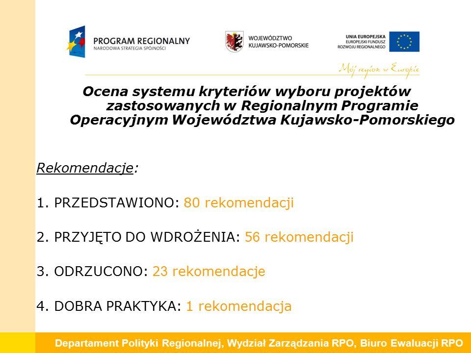 Departament Polityki Regionalnej, Wydział Zarządzania RPO, Biuro Ewaluacji RPO Ocena systemu kryteriów wyboru projektów zastosowanych w Regionalnym Programie Operacyjnym Województwa Kujawsko-Pomorskiego Rekomendacje: 1.