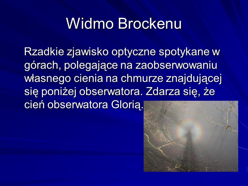 Widmo Brockenu Rzadkie zjawisko optyczne spotykane w górach, polegające na zaobserwowaniu własnego cienia na chmurze znajdującej się poniżej obserwato