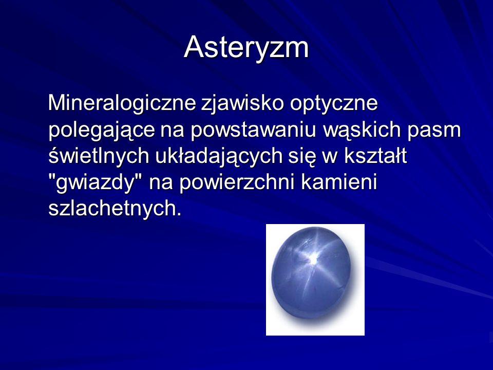Asteryzm Mineralogiczne zjawisko optyczne polegające na powstawaniu wąskich pasm świetlnych układających się w kształt