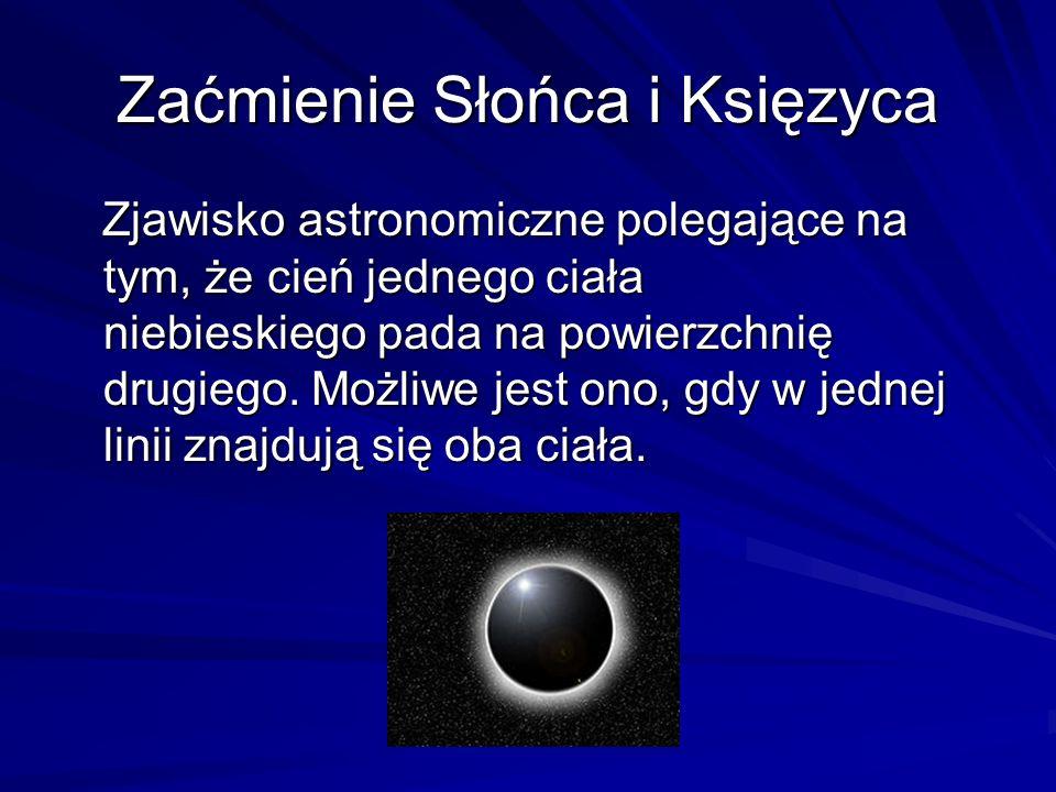 Zaćmienie Słońca i Księzyca Zjawisko astronomiczne polegające na tym, że cień jednego ciała niebieskiego pada na powierzchnię drugiego. Możliwe jest o
