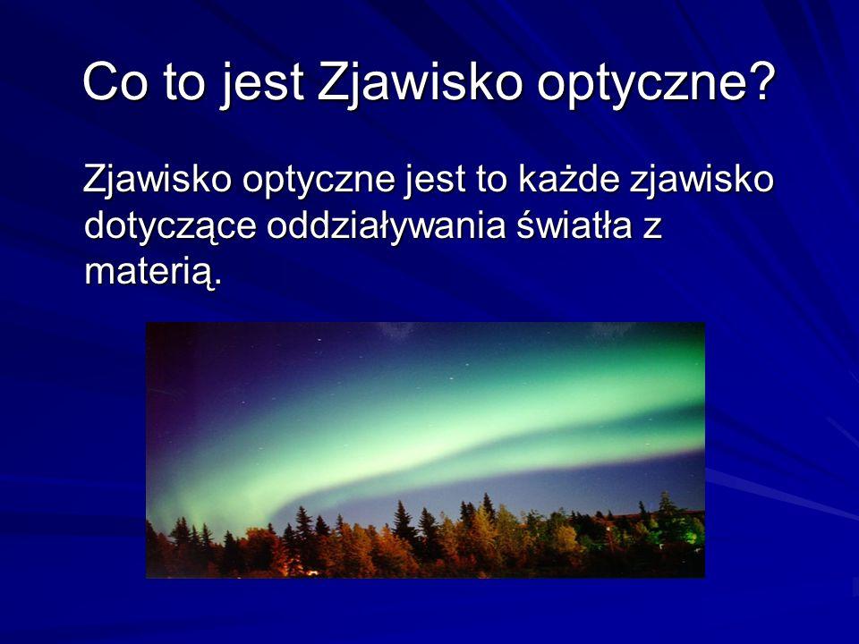 Co to jest Zjawisko optyczne? Zjawisko optyczne jest to każde zjawisko dotyczące oddziaływania światła z materią. Zjawisko optyczne jest to każde zjaw