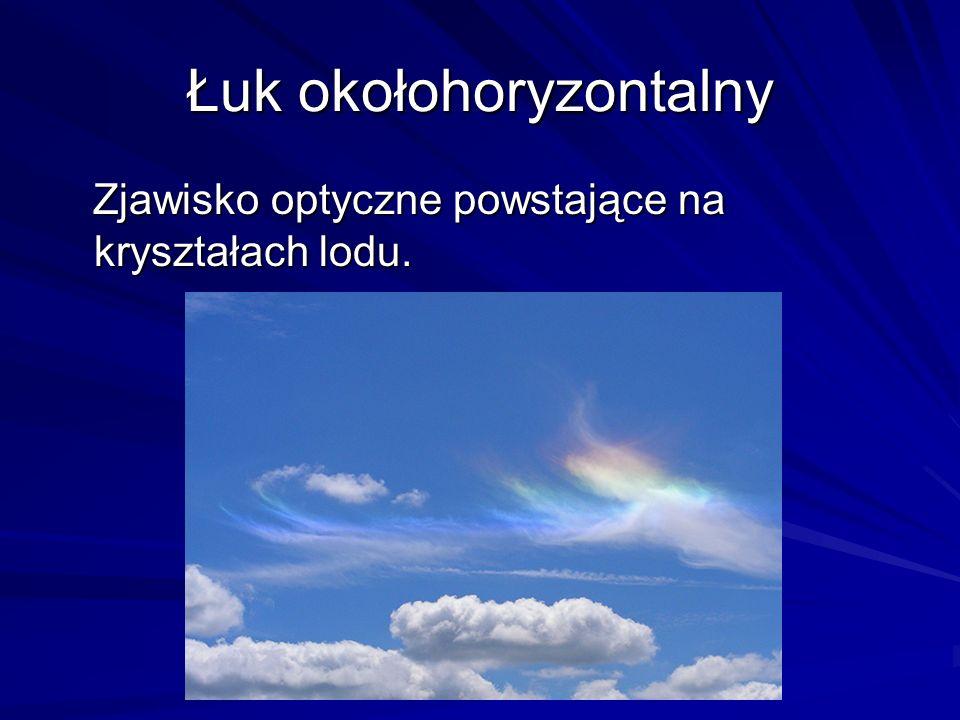 Łuk okołohoryzontalny Zjawisko optyczne powstające na kryształach lodu. Zjawisko optyczne powstające na kryształach lodu.