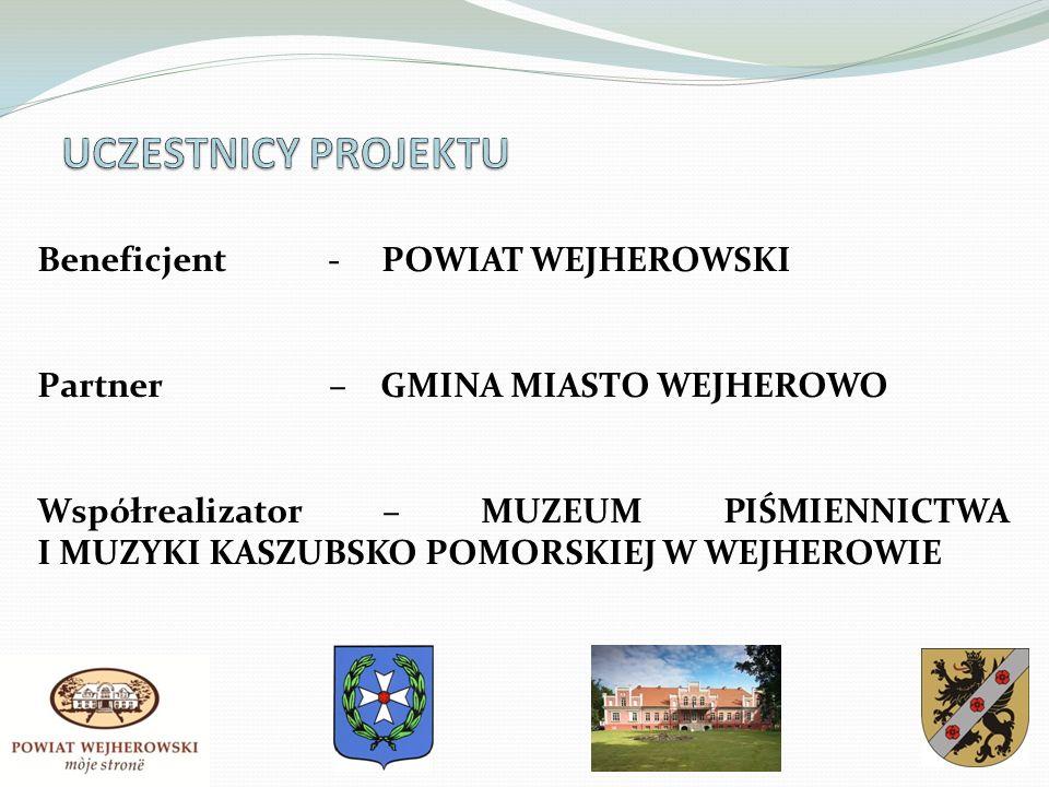 Beneficjent - POWIAT WEJHEROWSKI Partner – GMINA MIASTO WEJHEROWO Współrealizator – MUZEUM PIŚMIENNICTWA I MUZYKI KASZUBSKO POMORSKIEJ W WEJHEROWIE
