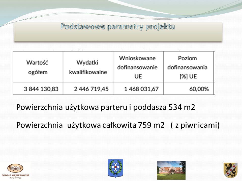 Powierzchnia użytkowa parteru i poddasza 534 m2 Powierzchnia użytkowa całkowita 759 m2 ( z piwnicami)