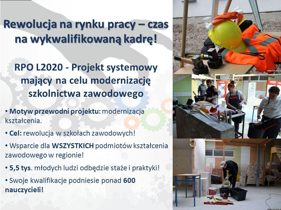 Rewolucja na rynku pracy – czas na wykwalifikowaną kadrę! RPO L2020 - Projekt systemowy mający na celu modernizację szkolnictwa zawodowego Motyw przew