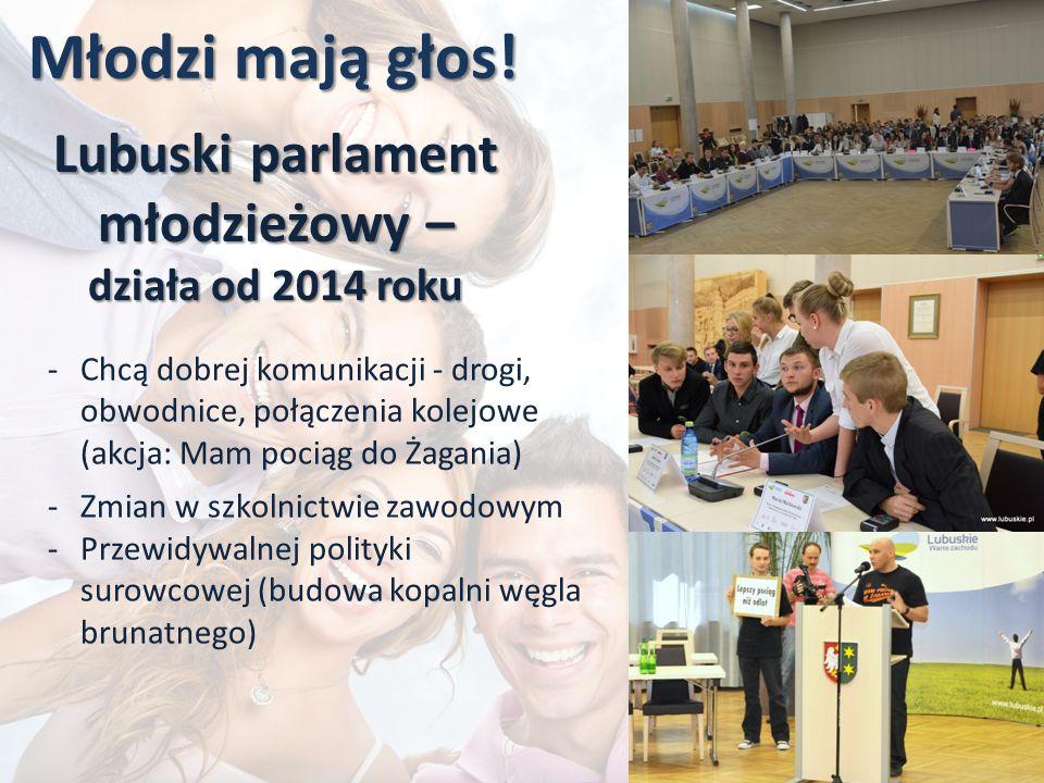 Młodzi mają głos! Lubuski parlament młodzieżowy – działa od 2014 roku -Chcą dobrej komunikacji - drogi, obwodnice, połączenia kolejowe (akcja: Mam poc