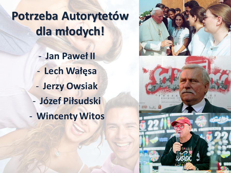 Potrzeba Autorytetów dla młodych! -Jan Paweł II -Lech Wałęsa -Jerzy Owsiak -Józef Piłsudski -Wincenty Witos