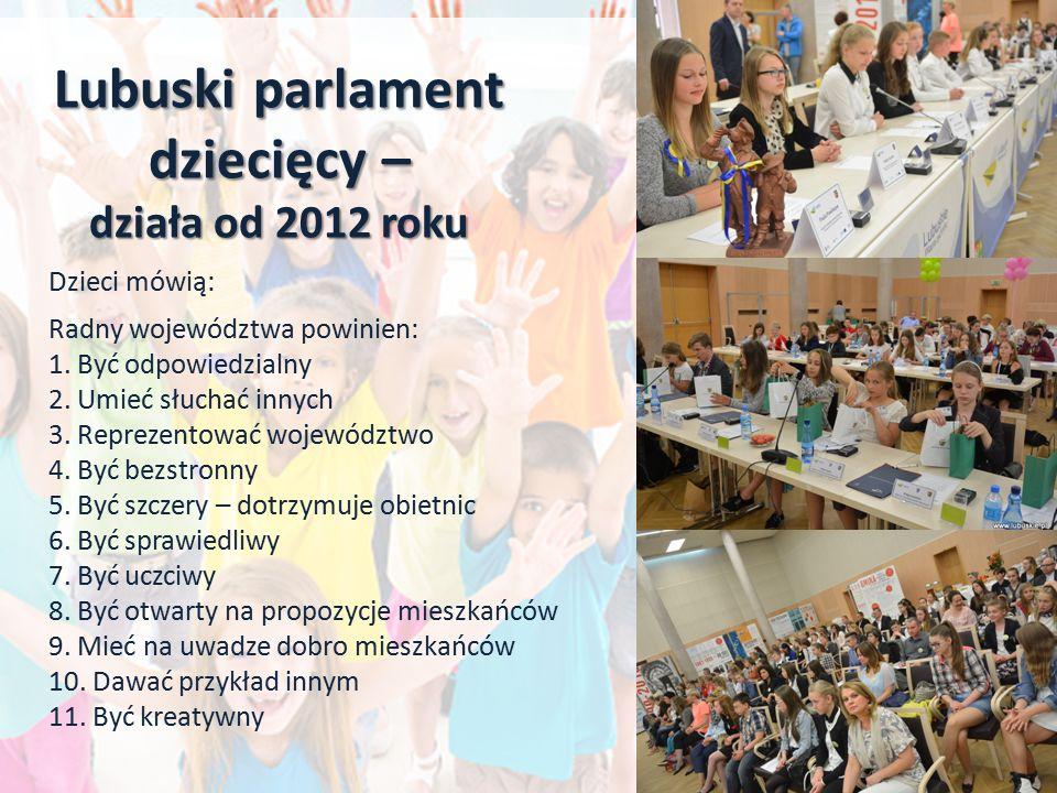 Lubuski parlament dziecięcy – działa od 2012 roku Dzieci mówią: Radny województwa powinien: 1. Być odpowiedzialny 2. Umieć słuchać innych 3. Reprezent