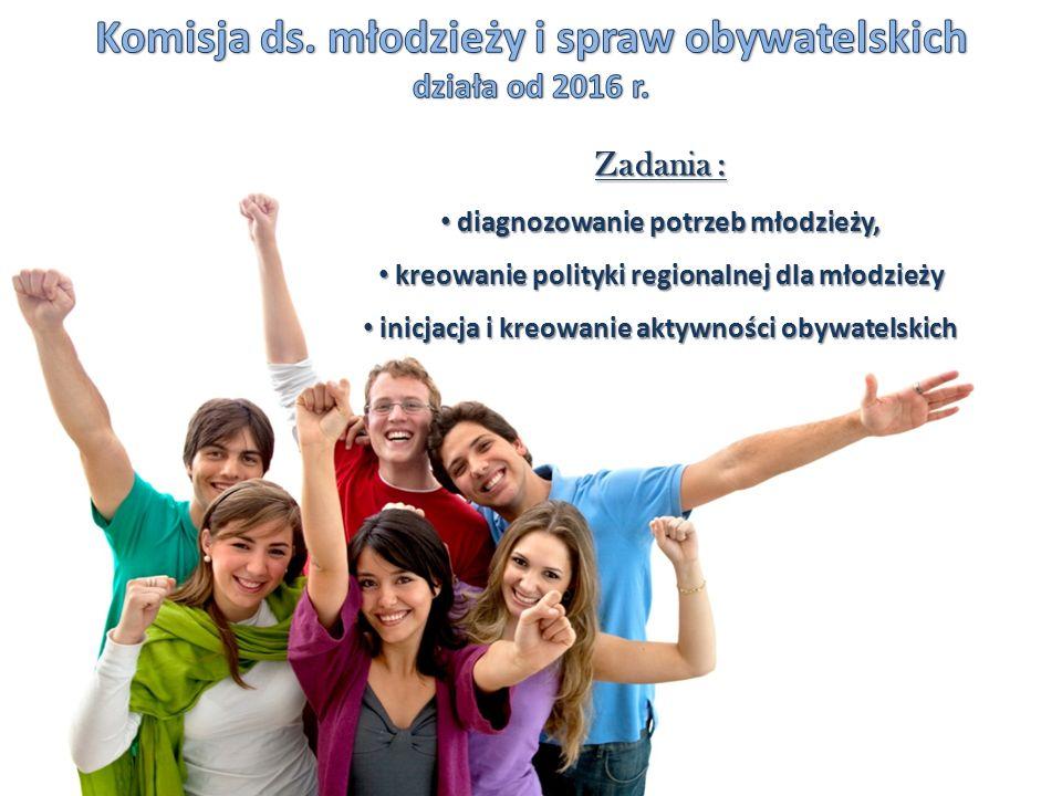 Zadania : diagnozowanie potrzeb młodzieży, diagnozowanie potrzeb młodzieży, kreowanie polityki regionalnej dla młodzieży kreowanie polityki regionalnej dla młodzieży inicjacja i kreowanie aktywności obywatelskich inicjacja i kreowanie aktywności obywatelskich