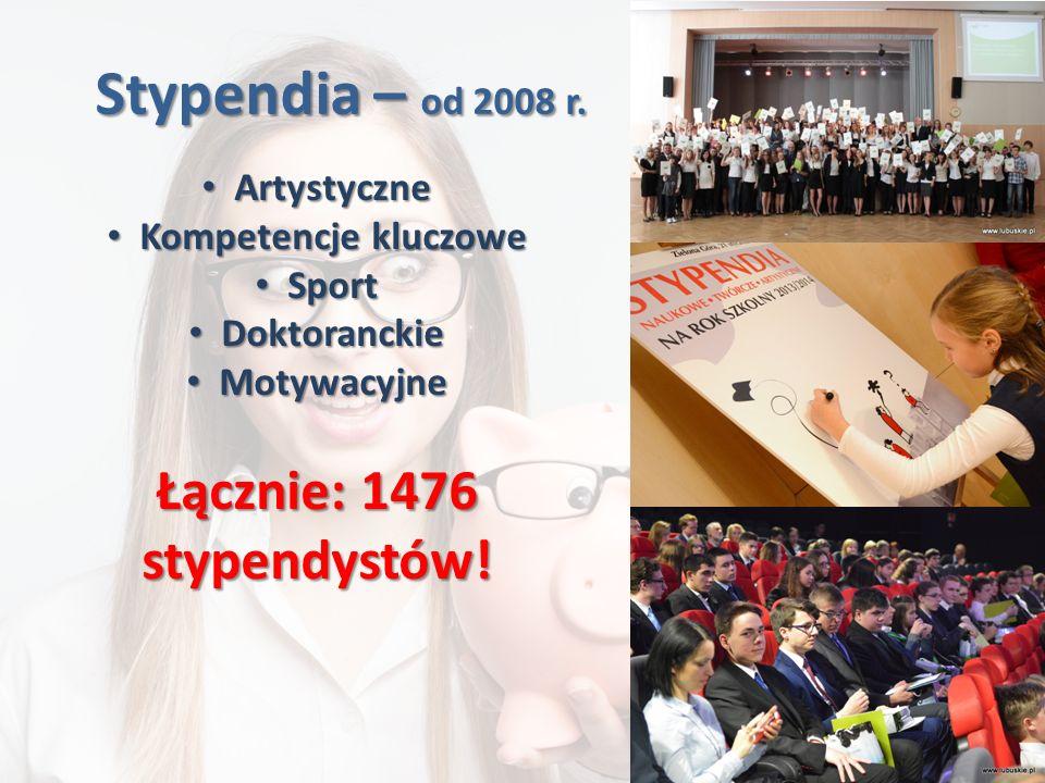 Stypendia – od 2008 r. Artystyczne Artystyczne Kompetencje kluczowe Kompetencje kluczowe Sport Sport Doktoranckie Doktoranckie Motywacyjne Motywacyjne