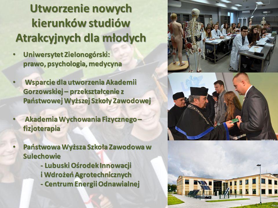 Utworzenie nowych kierunków studiów atrakcyjnych dla młodych Uniwersytet Zielonogórski – prawo, psychologia, medycyna Utworzenie nowych kierunków stud